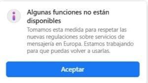 Algunas funciones de Messenger e Instagram no están disponibles en Europa